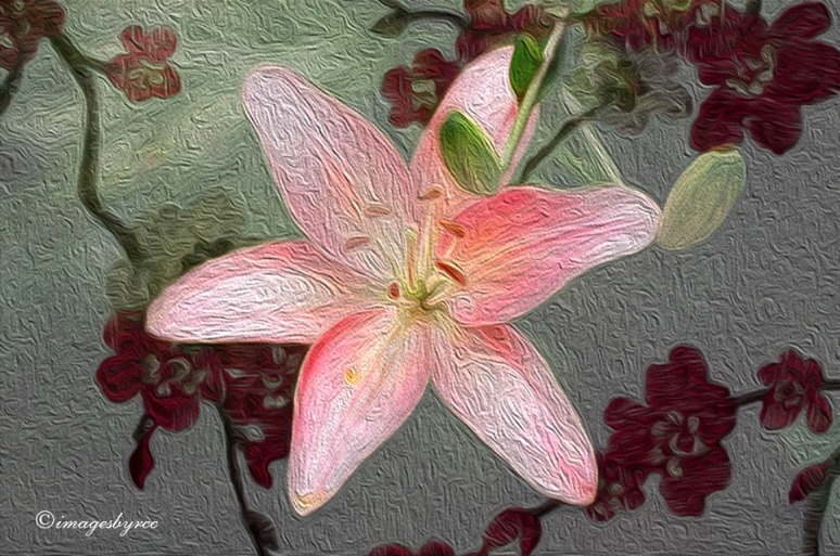 Lily on a Floral Background oil paint